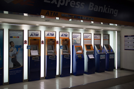 CHIANG MAI, THAILAND -OCTOBER 4 2017: ATM Machine in  Central Kad Suan Kaew Chiangmai. First Modern Business Plaza of Chiangmai. About 0.5 Km. from Chiangmai City, Thailand. Editoriali