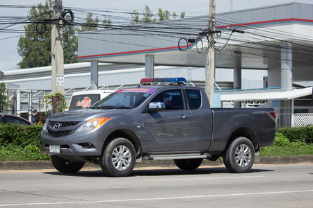 CHIANG MAI, THAILAND -OCTOBER 6 2017: Private Pickup car, Mazda BT-50 Pro. Photo at road no 121 about 8 km from downtown Chiangmai, thailand.