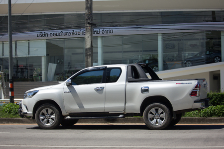 CHIANG MAI, THAILAND -OCTOBER 6 2017: Private Pickup Truck Car Toyota Hilux Revo. On road no.1001, 8 km from Chiangmai city.