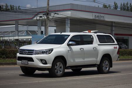 CHIANG MAI, THAILAND -SEPTEMBER 22 2017: Private Pickup Truck Car Toyota Hilux Revo 4X4 Diff Lock. On road no.1001, 8 km from Chiangmai city. Editorial