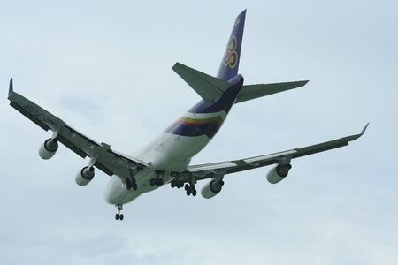 boeing 747: CHIANGMAI , THAILAND- JULY 23 2009: HS-TGB Boeing 747-400 of Thaiairway. For Flight  Chiangmai airport and Bangkok Suvarnabhumi, thailand.