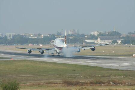 747 400: CHIANGMAI , THAILAND- CIRCA 2007: HS-TGH Boeing 747-400 of Thaiairway. For Flight  Chiangmai airport and Bangkok Suvarnabhumi, thailand.