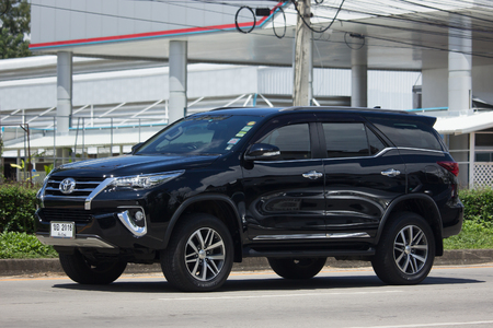 CHIANG MAI, THAILAND -OCTOBER 7 2017: Private  Toyota Fortuner Suv Car. On road no.1001 8 km from Chiangmai city.