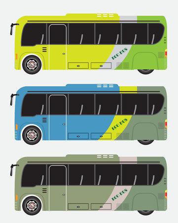 Set of hybrid bus vector illustration. Eco power minibus.
