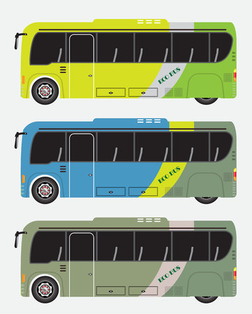Set of hybrid bus vector illustration. Eco power minibus.