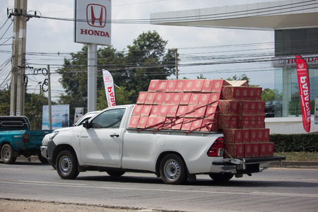 CHIANG MAI, THAILAND -NOVEMBER 28 2017: Private Pickup Truck Car Toyota Hilux Revo. On road no.1001, 8 km from Chiangmai city. Editorial