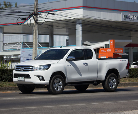 CHIANG MAI, THAILAND -NOVEMBER 30 2017: Private Pickup Truck Car Toyota Hilux Revo. On road no.1001, 8 km from Chiangmai city.