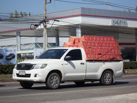 CHIANG MAI, THAILAND -NOVEMBER 30 2017: Private Toyota Hilux Vigo  Pickup Truck with Passenger.  On road no.1001 8 km from Chiangmai city.