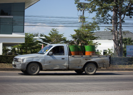 CHIANG MAI, THAILAND -DECEMBER 4 2017:  Private Pickup Oil Truck. On Truck on road no.1001, 8 km from Chiangmai city.