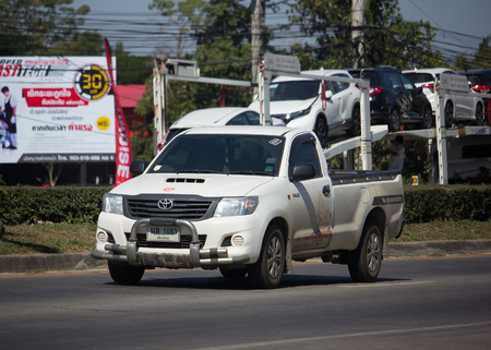 CHIANG MAI, THAILAND -DECEMBER 4 2017: Private Toyota Hilux Vigo  Pickup Truck with Passenger.  On road no.1001 8 km from Chiangmai city. Editorial