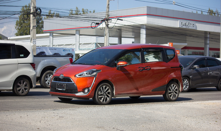 CHIANG MAI, THAILAND -DECEMBER 12 2017: New Product of Toyota Automobile, Toyota Sienta Mini MPV Van. On road no.1001, 8 km from Chiangmai city.