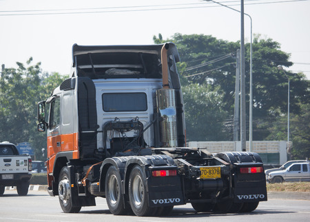 CHIANG MAI, THAILAND -DECEMBER 11 2017: Private Volvo Trailer  truck. On road no.1001, 8 km from Chiangmai Business Area. Editorial
