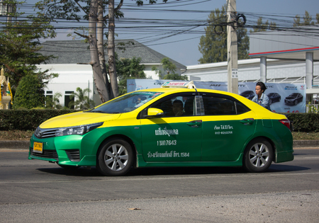 CHIANG MAI, THAILAND -DECEMBER 11 2017: City taxi Bangkok, Service in city. On road no.1001, 8 km from Chiangmai city. Editorial