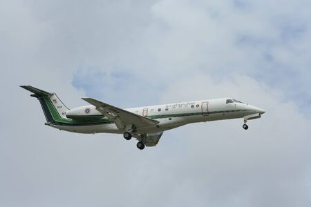 CHIANG MAI, THAILAND -JULY 28 2010: HS-AMP Embraer ERJ-135 of Royal Thai Army. Landing to chiangmai airport.