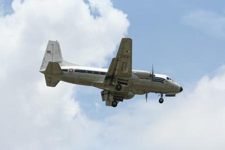 CHIANG MAI, THAILAND -JULY 28 2010: 60303 Hawker Siddeley HS 748 of Royal Thai Air force. Landing to Chiangmai Airport.