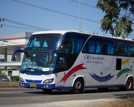 CHIANG MAI, THAILAND -DECEMBER 12 2017: Travel Bus of CRV Transport Company. Photo at road no 1001 about 8 km from downtown Chiangmai, thailand.