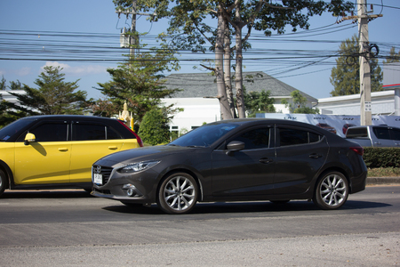 CHIANG MAI, THAILAND -DECEMBER 15 2017: Private City Car, Mazda 3. Photo at road no 121 about 8 km from downtown Chiangmai, thailand. Editorial