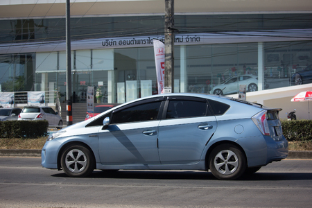 CHIANG MAI, THAILAND -DECEMBER 15 2017: Private car Toyota Prius Hybrid System. On road no.1001 8 km from Chiangmai Business Area.