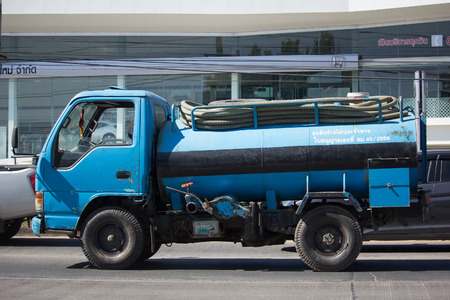 CHIANG MAI, THAILAND -DECEMBER 15 2017: Private of Sewage Tank  truck. Photo at road no.121 about 8 km from downtown Chiangmai, thailand.