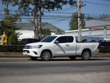 CHIANG MAI, THAILAND -DECEMBER 15 2017: Private Pickup Truck Car Toyota Hilux Revo. On road no.1001, 8 km from Chiangmai city.
