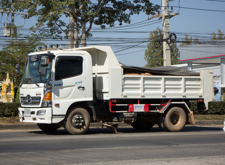 CHIANG MAI, THAILAND -DECEMBER 24 2017: Private Hino Dump Truck. On road no.1001 8 km from Chiangmai Business Area.