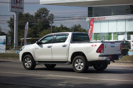 CHIANG MAI, THAILAND -JANUARY 8 2018:  Private Pickup Truck Car New Toyota Hilux Revo  Rocco. On road no.1001, 8 km from Chiangmai city.