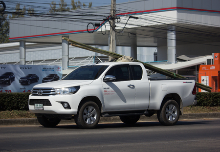 CHIANG MAI, THAILAND -DECEMBER 22 2017: Private Pickup Truck Car Toyota Hilux Revo. On road no.1001, 8 km from Chiangmai city. Editorial