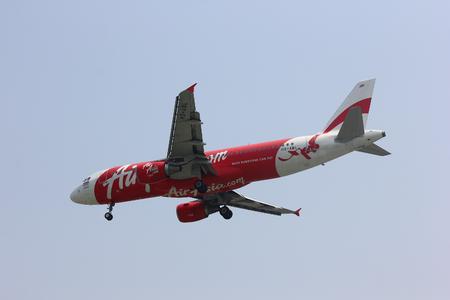 CHIANGMAI , THAILAND- MARCH 5 2014: HS-ABL Airbus A320-200 of Thaiairasia. landing to Chiangmai airport from Bangkok Suvarnabhumi.