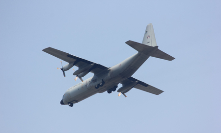 CHIANGMAI , THAILAND- MARCH 5 2014: 60105 C-130 of Royal Thai Air force. Landing to Chiangmai Airport.