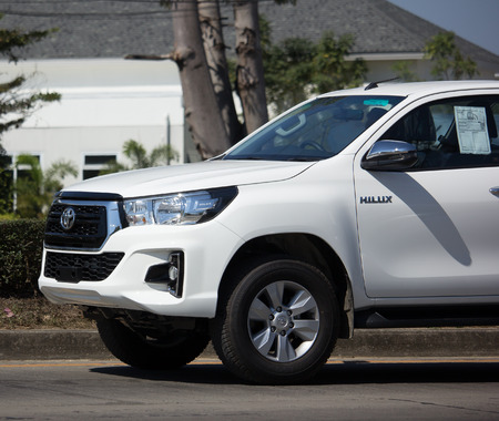 CHIANG MAI, THAILAND -JANUARY 22 2018:  Private Pickup Truck Car New Toyota Hilux Revo  Rocco. On road no.1001, 8 km from Chiangmai city. Editorial
