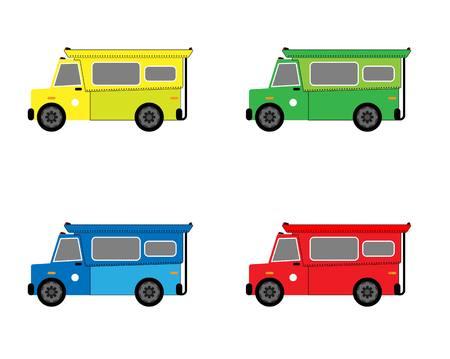 白い背景にピックアップトラックタクシーチェンマイ  イラスト・ベクター素材
