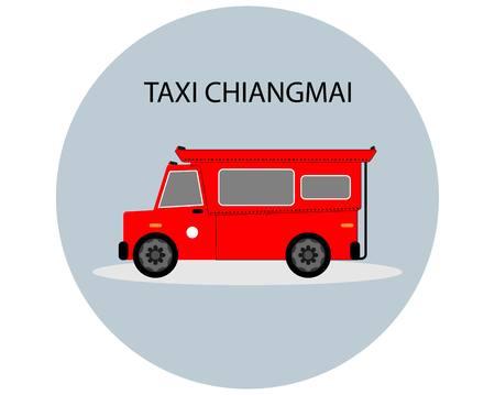 白い背景に赤いピックアップトラックタクシーチェンマイ