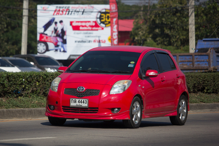 CHIANG MAI, THAILAND -JANUARY 9 2018:  Private Car toyota Yaris Hatchback Eco Car.  Photo at road no 121 about 8 km from downtown Chiangmai thailand. Editorial