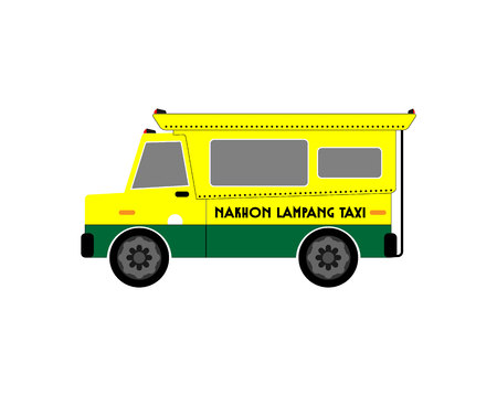 白い背景に黄色と緑のピックアップトラック