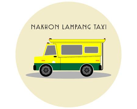 白い背景に黄色と緑のピックアップトラックタクシー