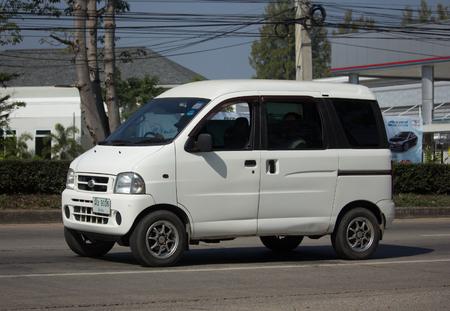 CHIANG MAI, THAILAND -JANUARY 9 2018:     Private Mini Van of Daihatsu Hijet. On road no.1001, 8 km from Chiangmai city. Editöryel