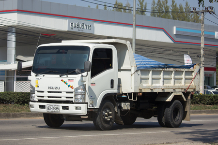 CHIANG MAI, THAILAND  JANUARY 9 2018: Private Isuzu Dump Truck. On Road