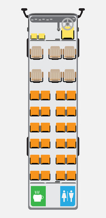Coach bus seat map with restroom vector illustration.