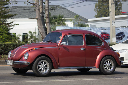 CHIANG MAI, THAILAND -JANUARY 16 2018: Vintage Private Car, Volkswagen beetle. Photo at road no.1001 about 8 km from downtown Chiangmai, thailand. Editorial
