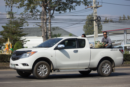 CHIANG MAI, THAILAND -JANUARY 16 2018:  Private Pick up, Mazda BT50. Photo at road no.121 about 8 km from downtown Chiangmai, thailand. Editorial
