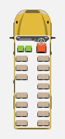 Top View show seat map of School Bus Vector