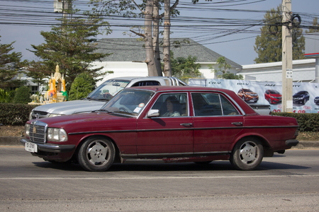 CHIANG MAI, THAILAND -JANUARY 19 2018: Private old car of Mercedes Benz 230E. Photo at road no.1001 about 8 km from downtown Chiangmai thailand.
