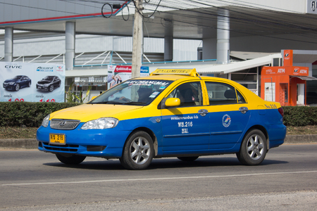 CHIANG MAI, THAILAND -JANUARY 19 2018:   City taxi chiangmai, Toyota Corolla Service in city. Photo at road no.1001 about 8 km from downtown Chiangmai, thailand.