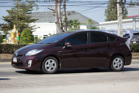 CHIANG MAI, THAILAND -JANUARY 22 2018: Private car Toyota Prius Hybrid System. On road no.1001 8 km from Chiangmai Business Area. Editorial