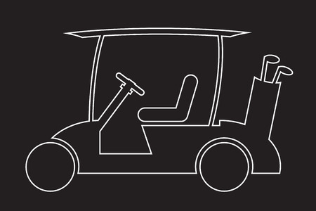 Line Design Golf cart or golf car icon on dark background vector illustration