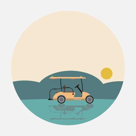 Flat Design Side View of Golf cart Vector illustration Ilustração