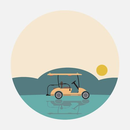 Flat Design Side View of Golf cart Vector illustration Stock Illustratie