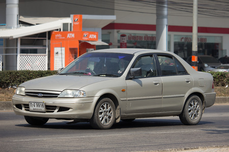 CHIANG MAI, THAILAND -FEBRUARY 8 2018:  Private car, Ford Laser. Photo at road no 121 about 8 km from downtown Chiangmai, thailand.