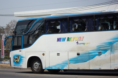 CHIANG MAI, THAILAND -DECEMBER 12 2017: Private  Travel Bus  on highway road. Photo at road no 1001 about 8 km from downtown Chiangmai, thailand.