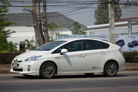 CHIANG MAI, THAILAND -FEBRUARY 27 2018: Private car Toyota Prius Hybrid System. On road no.1001 8 km from Chiangmai Business Area.